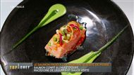 Voir la recette: Saumon confit à l'huile d'olive, macédoine de légumes et sauce verte