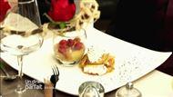 Voir la recette : Poire pochée au vin, crumble framboise et feuilletage pomme chantilly