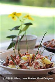 Voir la recette: Pommes de terre fumées aux crevettes grises