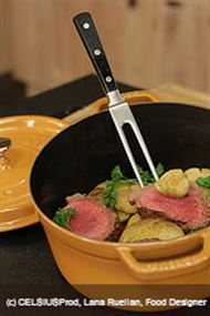 Voir la recette: Rôti de boeuf, pommes de terre fondantes à l'ail