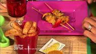 Voir la recette: Brochettes de moules, rougets au chorizo et sa sauce safran