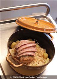 Voir la recette : Rôti de porc au spiering, et céleri en cocotte