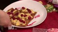 Voir la recette: Millefeuille au chocolat blanc, framboises et pistaches