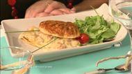 Voir la recette: Croustillant de pétoncles, fondue de poireaux, roquette