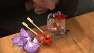 Voir la recette: Verrines tomates, ricotta, gambas et brochette pomme de terre saumon fumé et fleur de pensée